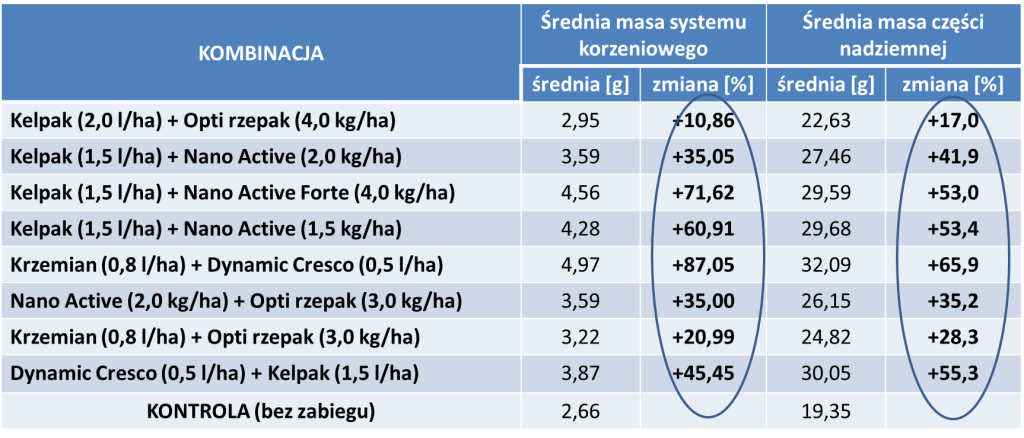 Tabela 1. Wpływ stosowania nawozów dolistnych i biostymulatorów na rozwój poszczególnych organów rzepaku ozimego (doświadczenie własne, sezon 2015/2016)