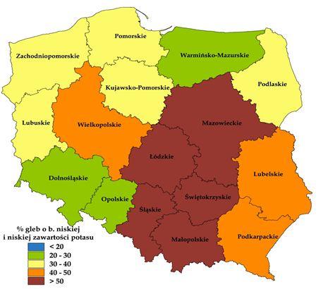 Zawartość potasu w glebach Polski (źródło: Internet)